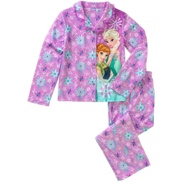 Frozen Fever Girls' License Button Front Pajama 2 Piece Sleep Set Just $4.00 Down From $11.97 At Walmart!