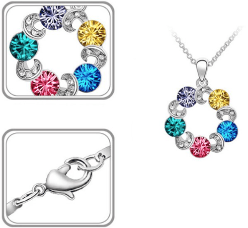 Crystal Circle Pendant Necklace Only $4.19 Plus FREE Shipping!
