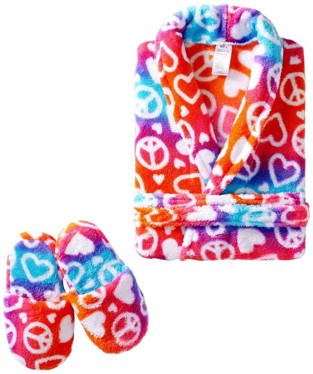 Sleep & Co Toddler Girls' Ombre Hearts Peace Robe With Slippers Set Only $5.77 (Reg $50!)