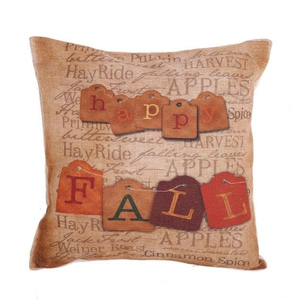 """Happy Fall Vintage Printed 18"""" Pillow Cover Just $5.79! Ships FREE!"""