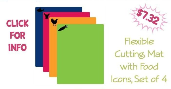 Flexible Cutting Mat with Food Icons, Set of 4 Just $7.32!