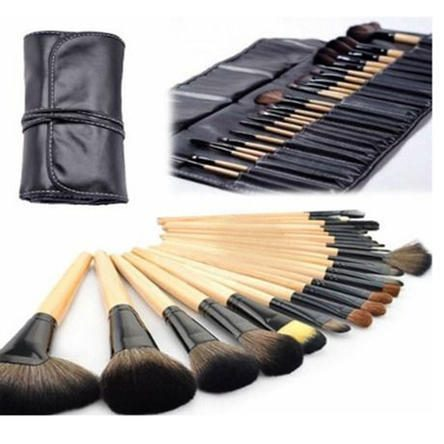 Two Elephants 24-Piece Set: Professional Makeup Brush Kit with Roll-Up Carrying Case Just $17.99! Down From $59.99!