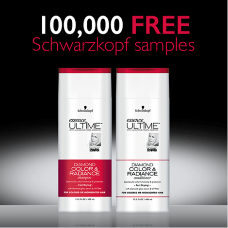 FREE Samples of Schwarzkopf Diamond Color & Radiance Shampoo and Conditioner!