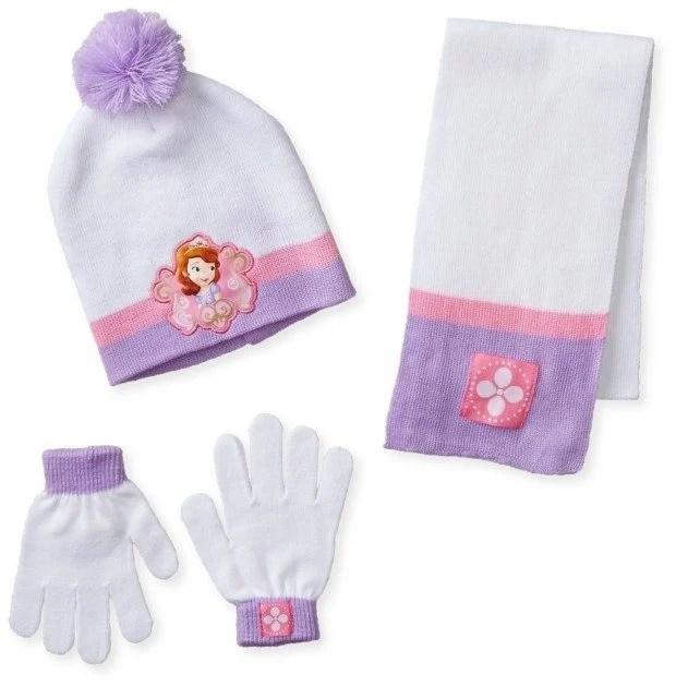 Princess Sofia The First Pom Beanie, Gloves and Scarf Set Only $7.31!