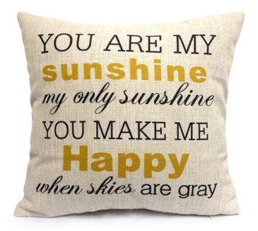You Are My Sunshine Cotton Linen Pillow Cover Just $3 Down From $12!  FREE Shipping!
