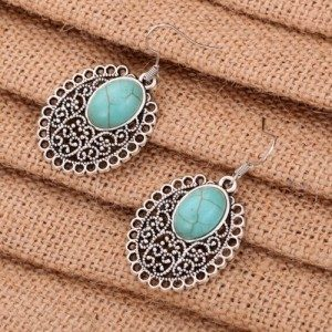Tibetan Turquoise and Silver Oval Earrings Only $3.99 SHIPPED!