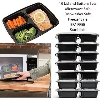 10 Pack of Bento Box Style 3 Compartment Lunch Containers Just $12.99! Down From $26.95!