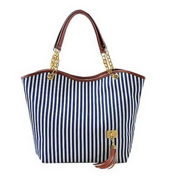 Women's Stripe Tassel Tote Handbag Only $12.98!