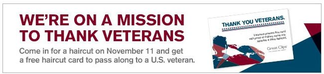 Give a FREE Hair Cut To A Military Member or Veteran On Nov. 11!