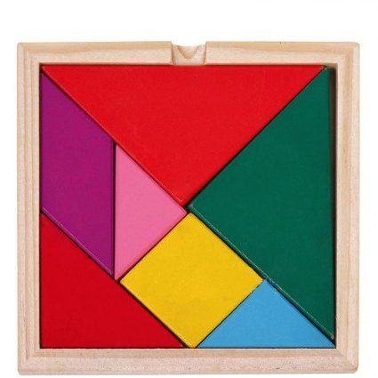 wooden geometric tangram puzzle