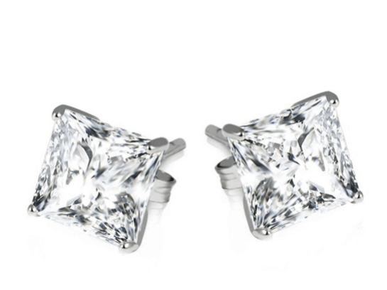 2ct Sterling Silver Princess Cut Earrings ONLY $5 + FREE Shipping (was $130)!