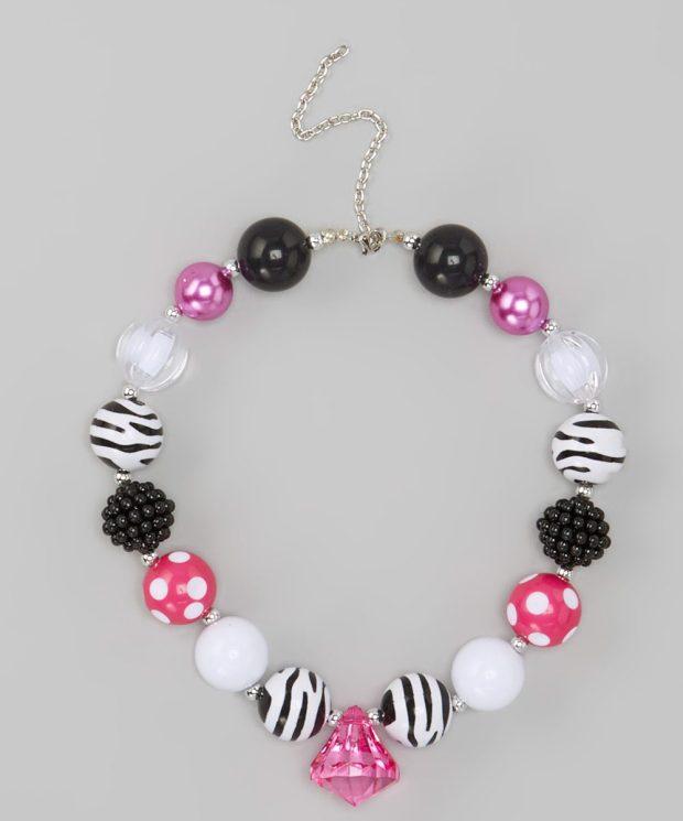 Hot Pink Zebra Necklace Only $10.99!