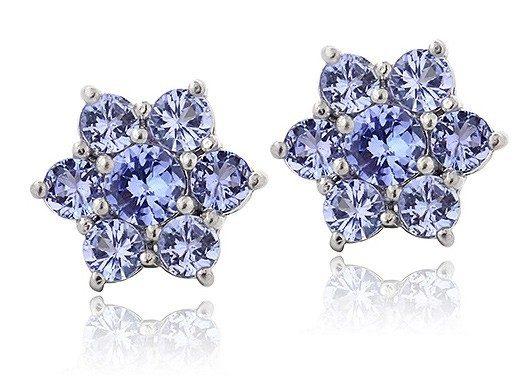 Tanzanite & Sterling Silver Flower Stud Earrings Only $28.99