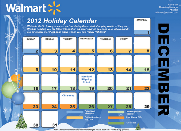 walmart holiday calendar and shipping guide grocery shop for free at the mart