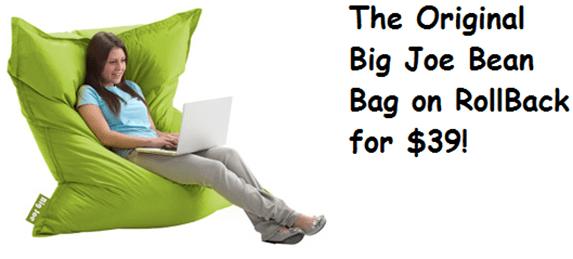 Walmart Online Deal Big Joe Bean Bag Char On RollBack For 39