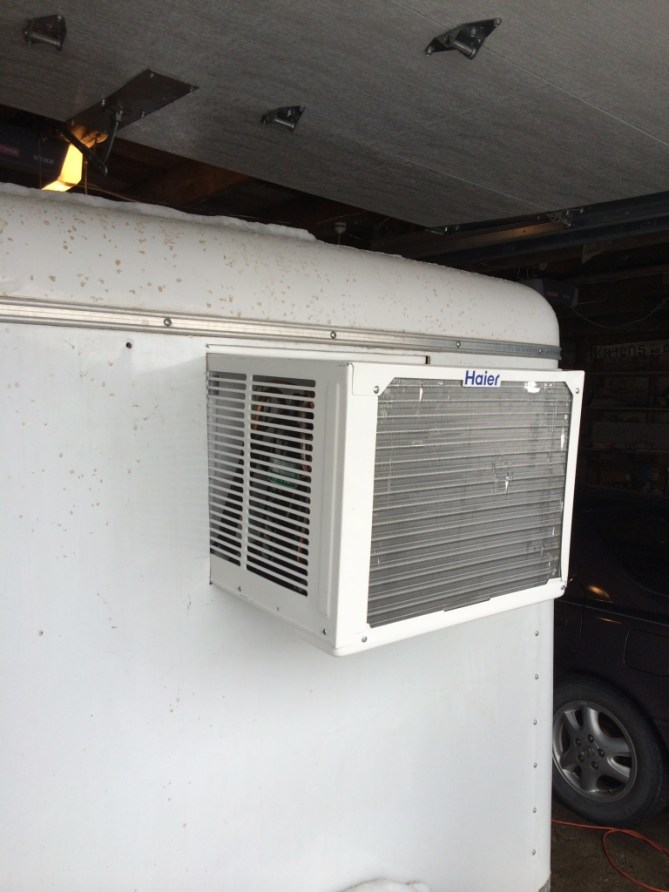 AC unit mounted in trailer