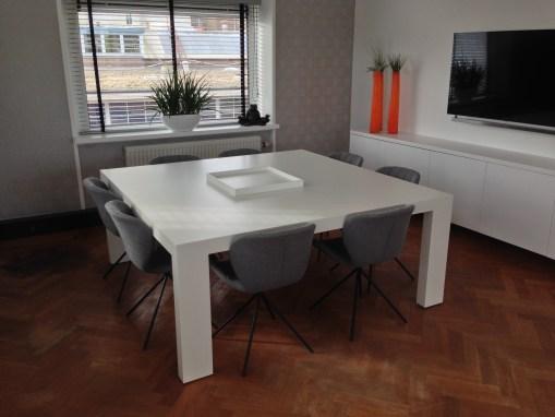 Vergadertafel 1800x1800mm wit gespoten door GrootS Interieur