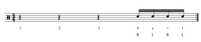 Singlestrokes als Fill In – 4 Note Fill Übung 2