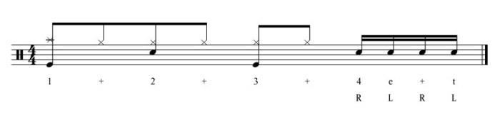 Singlestrokes als Fill In – 4 Note Fill Übung-4