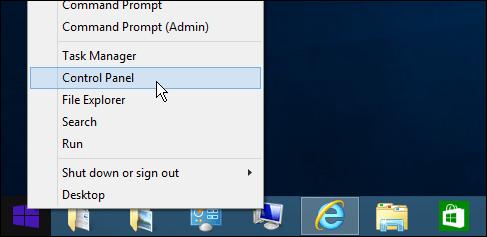 Control Panel Windows 8