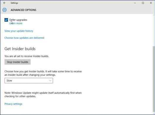 Defer Updates Windows 10