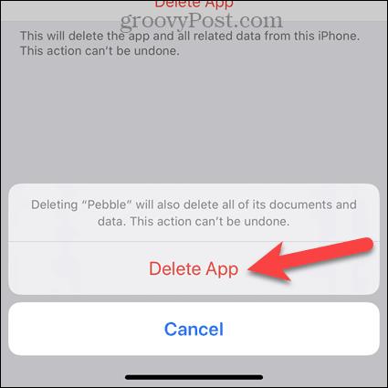 Нажмите «Удалить приложение» в диалоговом окне подтверждения iPhone.
