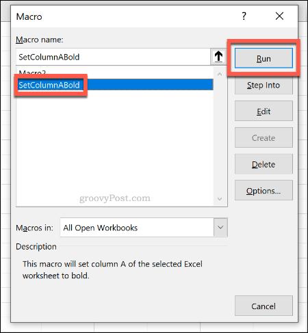 Меню выбора макроса для запуска макроса в Excel