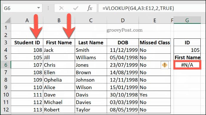 Другой пример ошибки NA с VLOOKUP в Excel, из-за того, что диапазон данных не сортируется должным образом