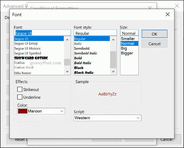 Выберите правила шрифта условного форматирования в Outlook