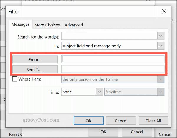 Установка правила условного форматирования по электронной почте в Outlook