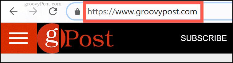 Доменное имя groovyPost.com в адресной строке Chrome