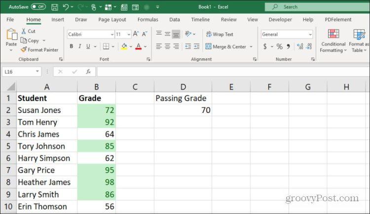 используя выделенные ячейки в Excel