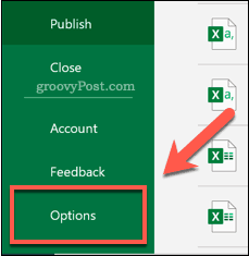 Opening the Options menu in Excel