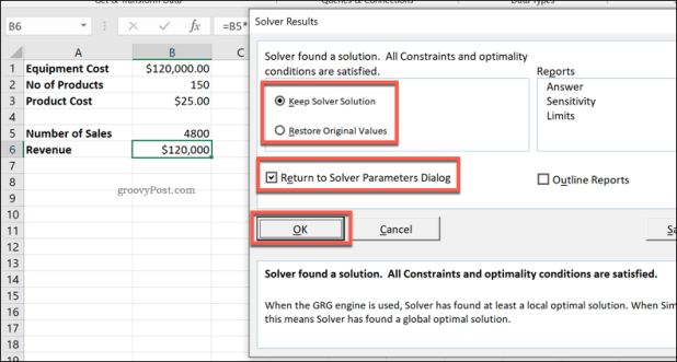 Excel Solver Results window