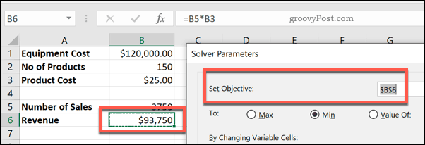 The Set Objective cell in Solver for Excel