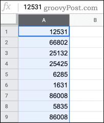 Выбор столбца в Google Таблицах