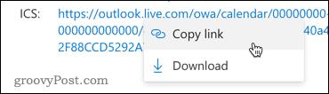 Копирование ссылки на календарь Outlook