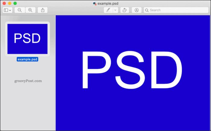 Открытие PSD-файла в macOS