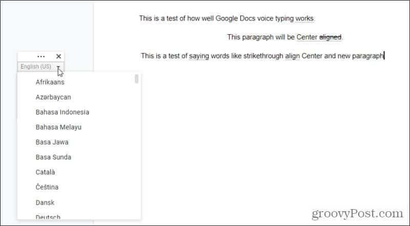 google docs языки голосового набора