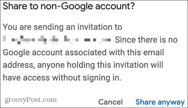 Поделиться с аккаунтом, отличным от Google