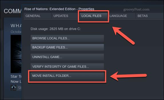 Кнопка выбора папки установки Steam Move