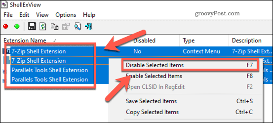 Disabling all third-party Explorer extensions in ShellExView