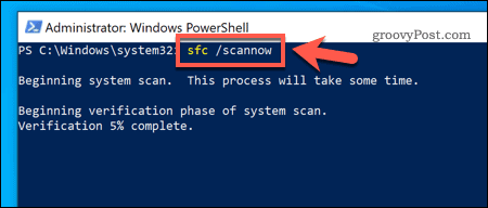 Using the SFC tool on Windows 10
