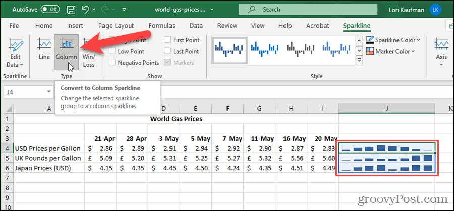 Изменить тип спарклайна в Excel
