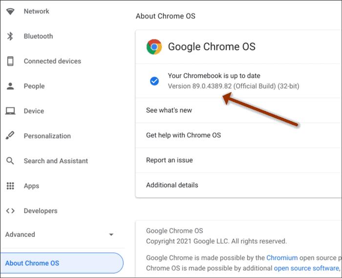 Chrome OS Version