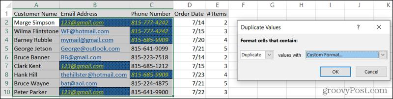 Дубликаты в произвольном формате в Excel