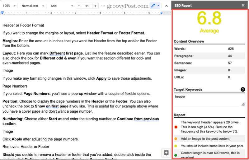 Дополнение для помощника по написанию контента SEO для Документов Google