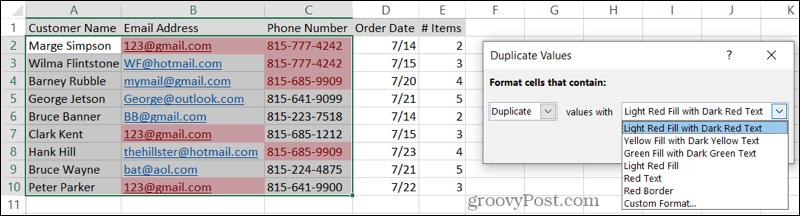 Выберите форматирование для дубликатов в Excel