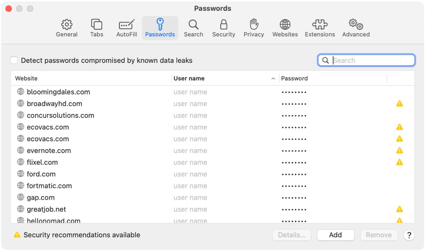 Safari for Mac Password examples