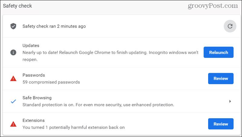 Результаты проверки безопасности Chrome